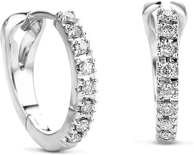 Orovi, orecchini a cerchio da donna, in oro bianco, 14carati (585), con diamanti 0,11crt
