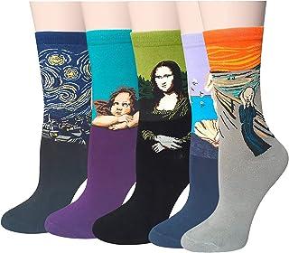 Chalier, Pack de 4/5 Mujer Niña Calcetines Originales Ocasionales Estampados Divertidos Impresos de Algodón de Pintura Famosa