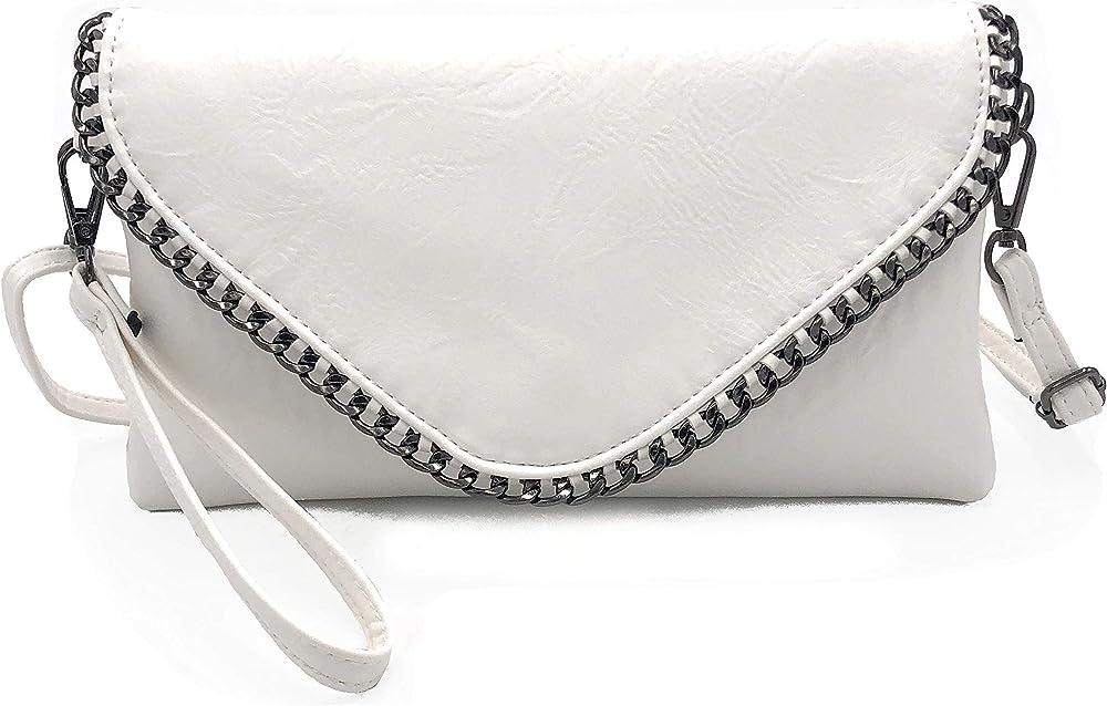 Eliox, pochette per donna, elegante,  con catena e tracolla, in morbida pelle sintetica sreoci, bianca sreocic