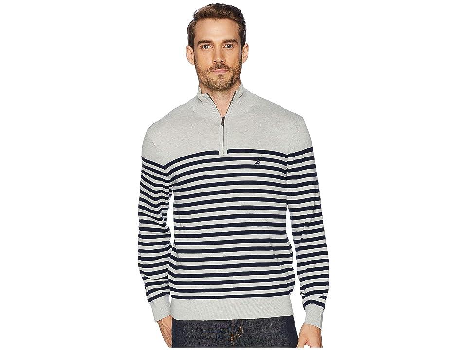 Nautica 12 Gauge 1/2 Zip Bretton Sweater (Grey Heather) Men