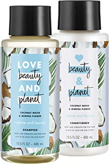 Love Beauty And Planet Volumizing Shampoo and Conditioner, Paraben Free, Silicone Free, and Vegan, Coconut Water & Mimosa Flower, 13.5 oz, 2 count