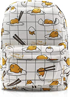 Gudetama Lazy Egg Yolk White Canvas Casual Daypack with 15 in Laptop Storage Compartment