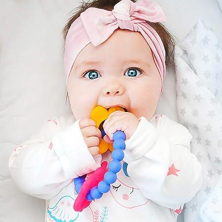 Zwini b/éb/é teether anneau 6pcs color/é nourrisson teething jouet bpa s/écurit/é alimentaire silicone de qualit/é sensorielle chew bracelet pour les enfants plus de 3 mois