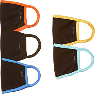 Amazon Brand - Symbol Unisex's Cotton Reusable Anti-Microbial 2 Layer Face Mask (Pack of 5) (IMK-03-PO5_Multicoloured_Free...