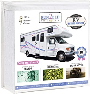 RUN2BED Luxury RV King Waterproof Mattress Protector - 100% Natural Cotton Soft Cover (72 x 80)