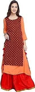 Oomph! A-line Rayon Kurti Palazzo Set for Women - Orange_mk104set