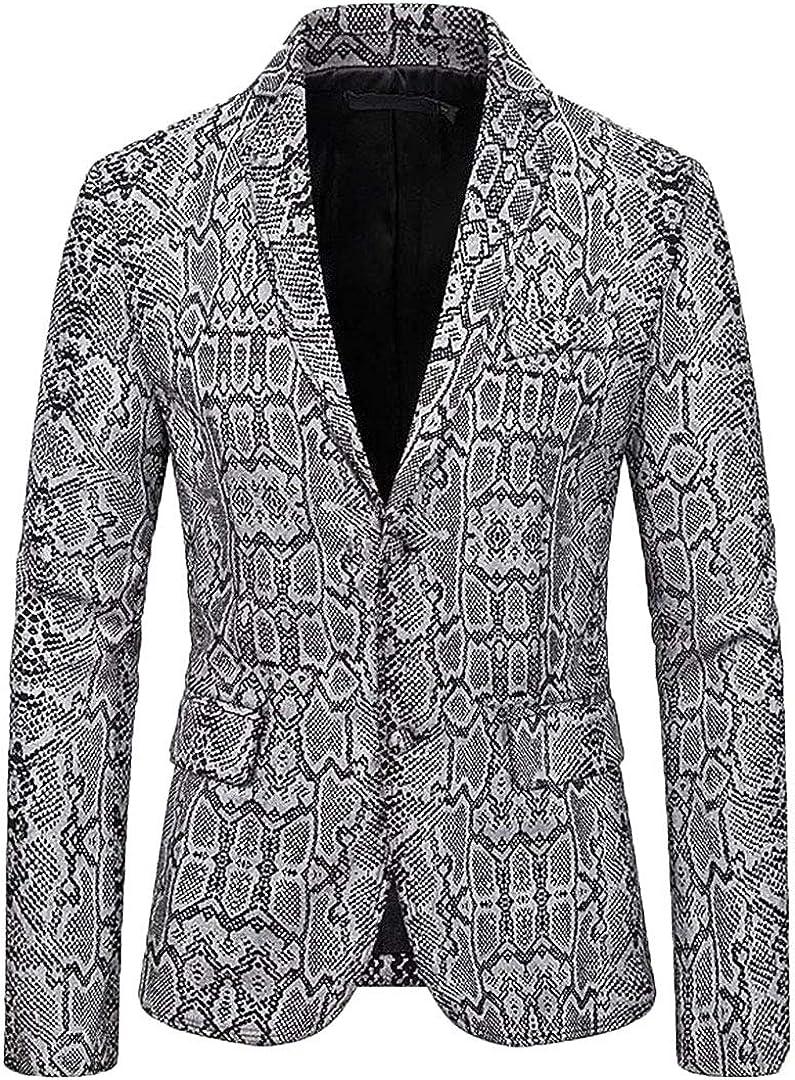 Sexy Snake Pattern Blazer Men Button Suit Jacket Nightclub Dj Festival Dance Party Stage Suit Coat