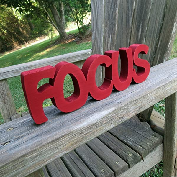 Wood Focus Sign Wall Hanging Or Shelf Sitter Choice Of Colors