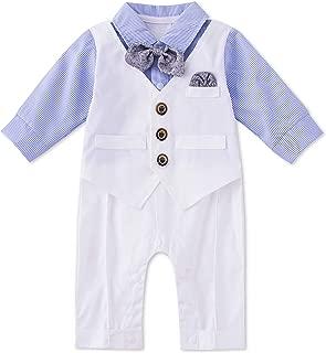 HMD Baby Boy Long Sleeve Gentleman White Shirt Waistcoat Bowtie Tuxedo Onesie Jumpsuit Overall Romper