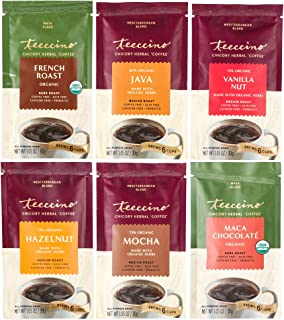 Teeccino Herbal Coffee Sampler – 6 Trial Size Packets – French Roast, Vanilla Nut, Hazelnut, Mocha, Maca Chocolate, Java –...