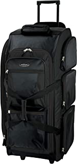 Travelers Club Luggage Adventure 30 Inch Rolling Multi-Pocket Upright Duffel, Black