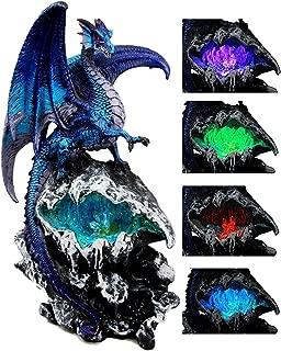 Atlantic Collectibles Aqua Spyro Elemental Dragon Fossil Cave Crystal Mine Guardian LED Night Light Figurine 12.5