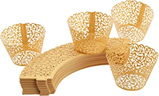 100-Piece Decorative Laser Cut Cupcake Liners Weddings, Birthdays, Christmas, Lace Cupcake Wrappers, Gold