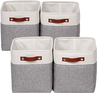 Univivi Lot de 4 paniers de rangement pliables bicolore avec poignées en corde de coton