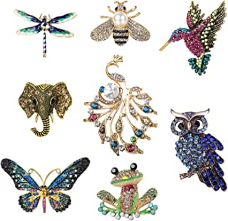 CASSIECA 8 Pieces Women Brooch Set Crystal Pin Vintage with Dragonfly Butterfly Hummingbird Owl Elephant Peacock Bee Frog Animal and Insect Brooch Pin for Women Girls Jewelry Gift