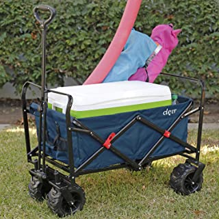 Clevr Collapsible Foldable Outdoor Wagon Cart with Large All Terrain Wheels, Blue 265 Lb Capacity, Easy Folding Utility Garden Transport Trolley, Great for Parties, Shopping, Beach, Park, Sports