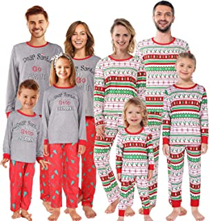 Christmas Family Matching Pajamas Set Striped Xmas Pjs Clothes,Holiday Tops and Pants Sleepwear for dad,Mom