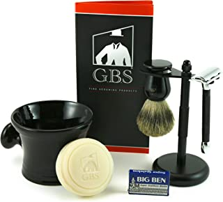 GBS 5 Piece Shaving and Grooming Beard Set - 20c Long Handle Rubber Coated DE Safety Razor, GBS Mug,100% Pure Badger Brush,97% All Natural Shave Soap, Stand, and Extra Blades - Black Edition