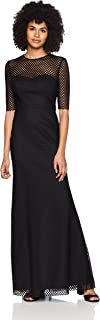 Vera Wang Women's Elbow Sleeve Graphic Lace with Illusion Neckline