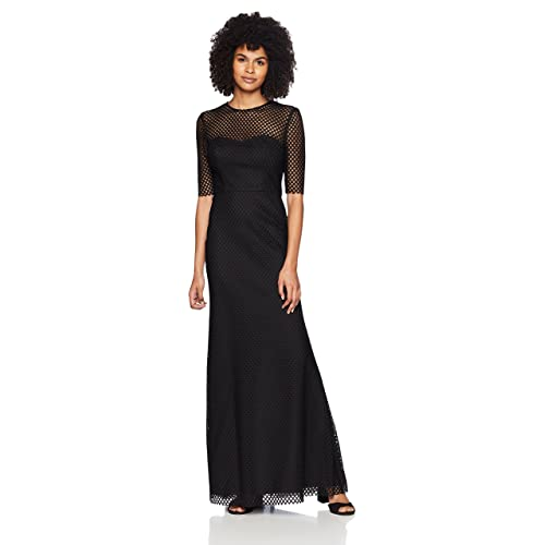 e0c4c6d896a Vera Wang Women s Elbow Sleeve Graphic Lace with Illusion Neckline