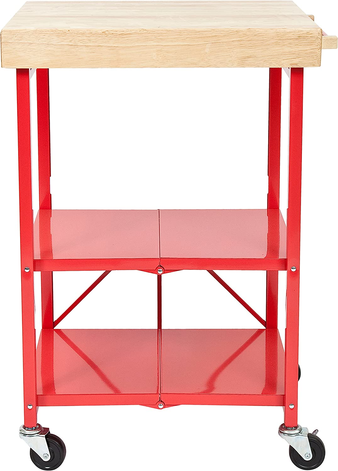 Origami Foldable Kitchen Island Cart, Red