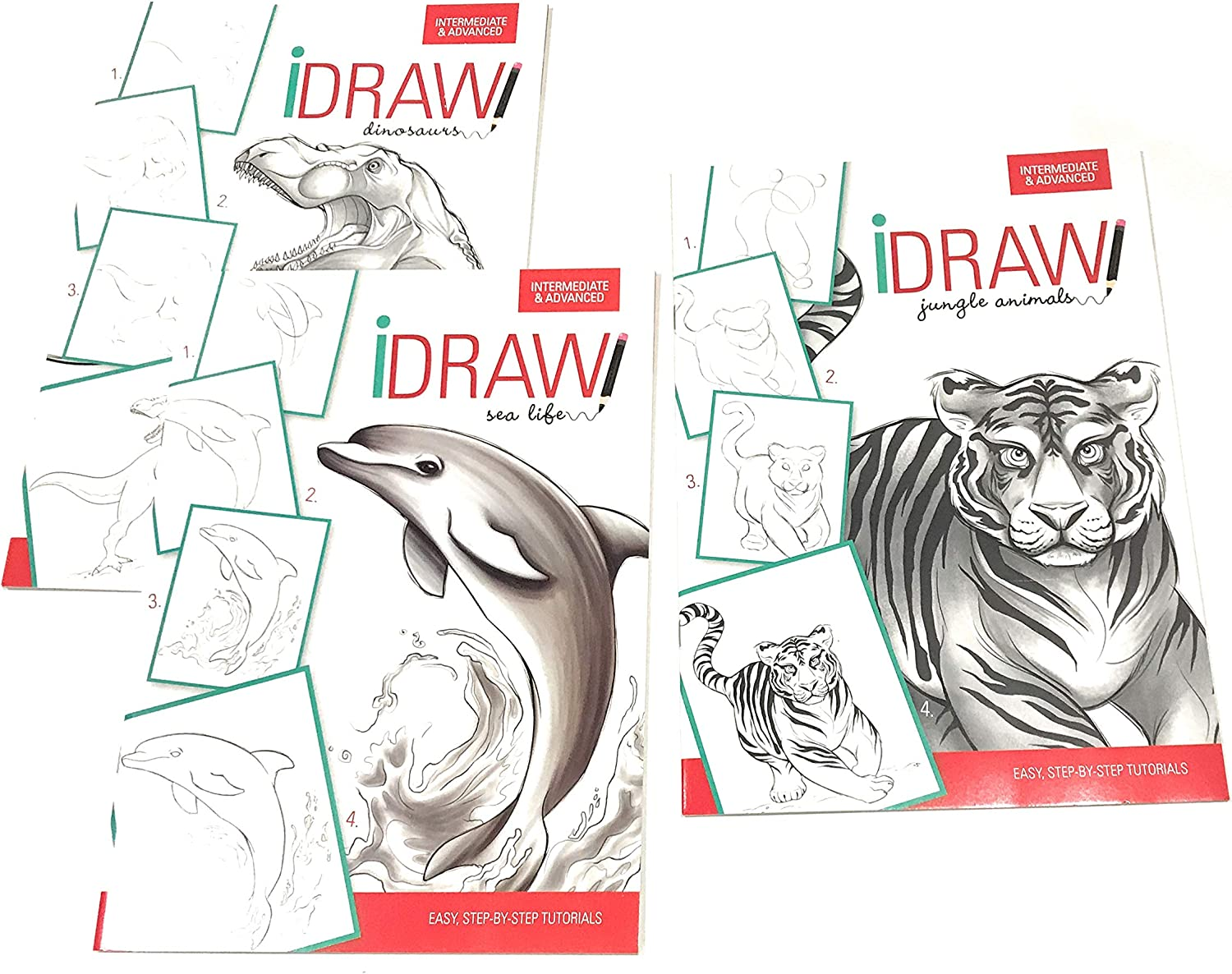IDraw Learn to Draw Instructional StepbyStep Tutorial Books, 3bk Set, Jungle, Sea, Dinosaurs