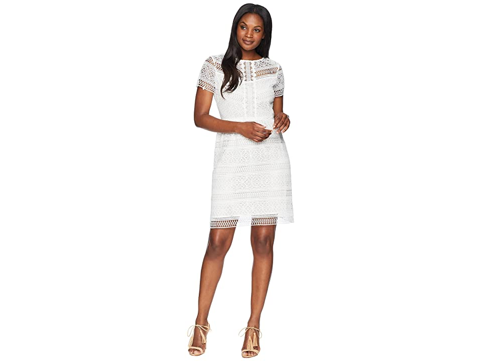 Tahari by ASL Short Sleeve Chemical Lace Fit and Flare Dress (White) Women