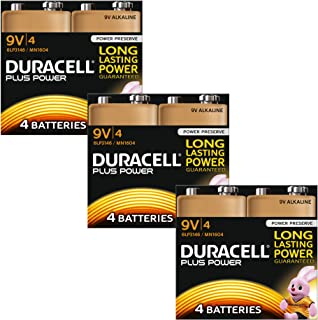 Duracell MN1604 Plus Power 9v Batteries Pack of 12
