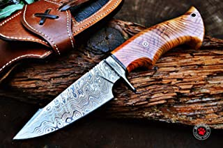 Bobcat Knives Custom Handmade Hunting Knife Damascus Steel Blade Olive Wood Handle 10'' Overall