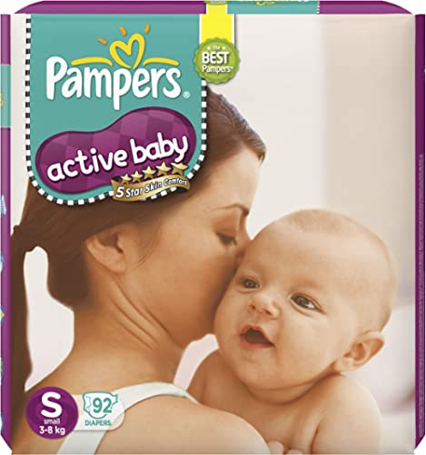 Pampers Active Baby Taped Diapers, Small size diapers, (SM) 92 count, Taped style custom fit
