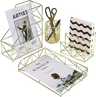 Simmer Stone Desk Organizer Set, 4 in 1 Decorative Desk Accessories Organizer, File Holder, Letter Sorter, Desk Tray and P...