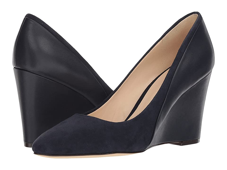 Nine West Daday Dress Wedge (French Navy/French Navy Isa Kid Suede/Dress Calf PU) Women