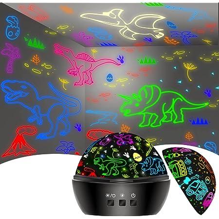 Dinosaure Jouet Enfant 2-7 Ans, Jouet Garcon 3-8 Ans, Veilleuse Dinosaure Voiture Projection Lampe Projecteur Enfant 16 Couleurs Rotation à 360°, Cadeau de Noel Anniversaire, Decoration Chambre Enfant