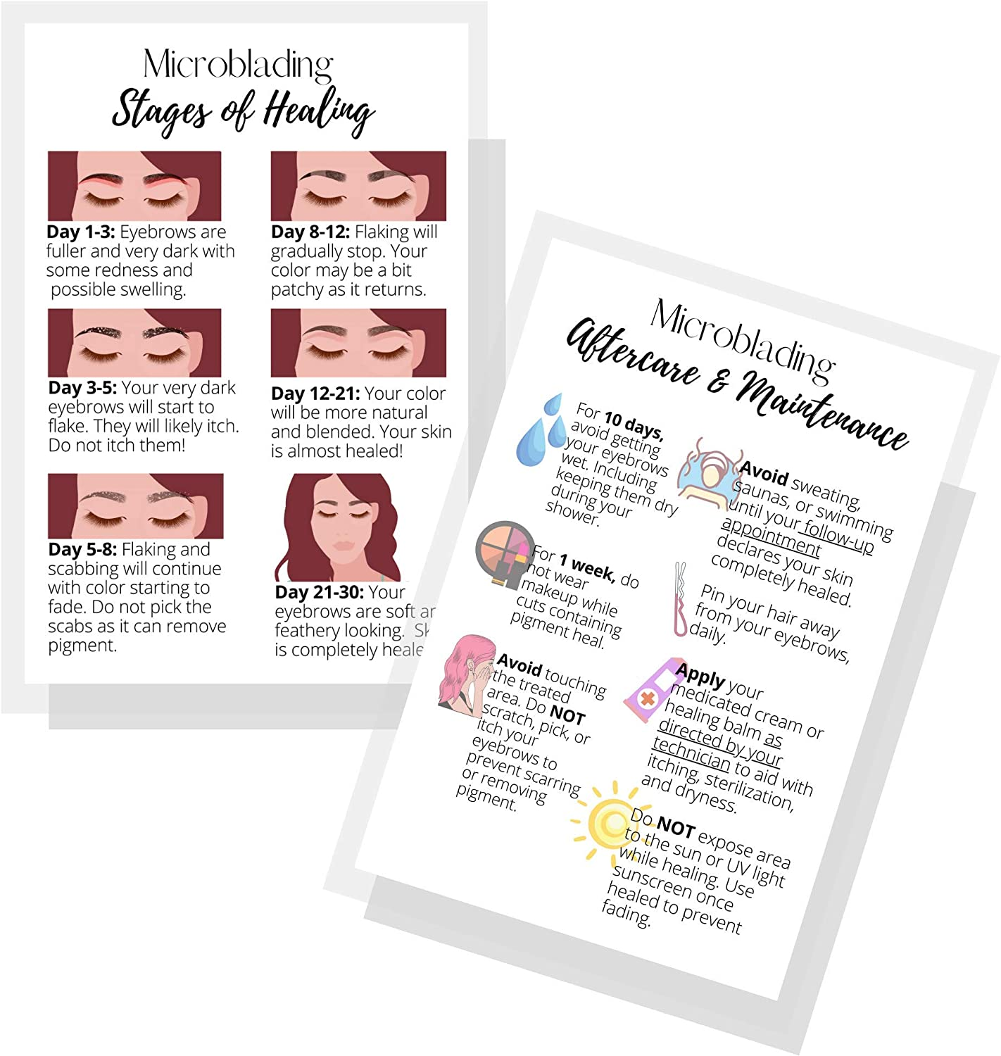 Kansas City store Mall Eyebrow Microblading Healing Postcards Aftercare Instructions