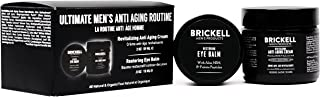 Brickell Men's Ultimate Anti-Aging Routine, Anti-Wrinkle Night Face Cream and Eye Cream to Reduce Puffiness, Wrinkles, Dark Circles, Under Eye Bags, Natural and Organic, Scented