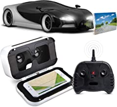 SHARPER IMAGE Remote Control Italia Sports Car with Virtual Reality Headset, 1:16 Scale, Silver & Black, 2.4 GHz