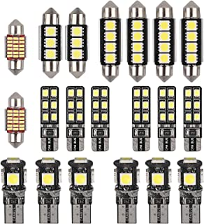 Justech 20PCs Can-bus Error Free LED SMD Bulbs Kit Set Spare Parts for Car Interior Dome Map Door Courtesy License Plate Lights Festoon C5W T10 168 194 2825 Xenon-White