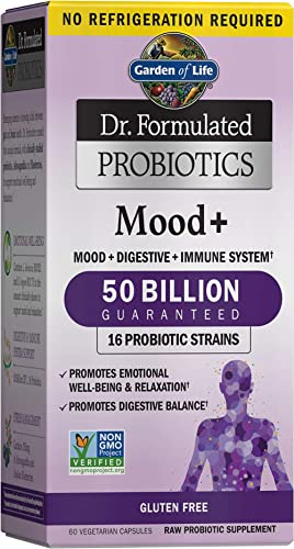 Garden of Life Probiotic and Mood Supplement - Dr. Formulated Mood+ for Digestive and Gut Health, Shelf Stable, 60 Ca...