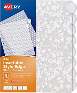 Avery Plastic 8-Tab Binder Dividers, Style Edge Insertable White Frosted Designer Tabs, 1 Set (11291)