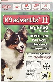 Advantix II Flea Drops,Tick Control K9 for 6-Month Dogs 21-55 Lbs (Red) 6 Doses