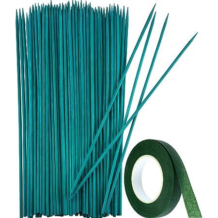 Estaca de la planta de madera verde Soporte de la planta floral Estaca de bambú de madera Selecciones artesanales naturales con 25 yardas de cinta de papel de flor verde oscuro (50 piezas, de 40 cm)