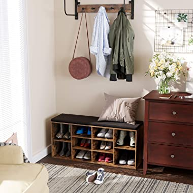 VASAGLE Cubbie Shoe Cabinet Storage Bench with Cushion, Adjustable Shelves, Holds up to 440lb, Rustic Brown ULHS10BX