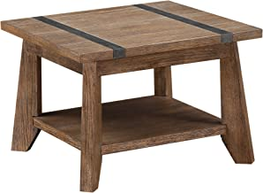 Emerald Home Viewpoint Driftwood Gray End Table with Open Storage Shelf And Metal Detailing