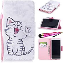 Hand Strap Case for Galaxy S10e, MerKuyom Scratch-resistant Credit Cash ID Slot [Kickstand] PU Leather Wallet Pouch Flap Flip Cover Skin Case W/ Stylus For Samsung Galaxy S10e (White Cat Style)