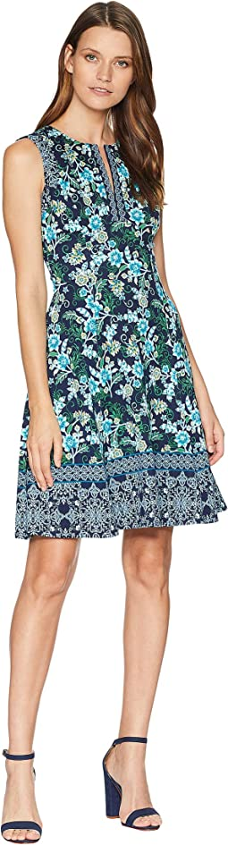 Vine Flower Border Printed Scuba Fit and Flare Dress