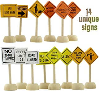 Attatoy Toy Wooden Road Construction Traffic Sign Set; Street Signs Small Toy Cars and Other Diecast Vehicles & Wood Cars & Toys
