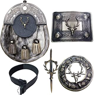 Kilt Belt with Buckle Scottish Kilts Sporran with Badge Style Stag Head/Kilt Pin/Fly Plaid Brooch 5 piece Set, Multicolour...