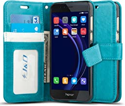 JD Huawei Honor 8, J&D [Wallet Stand] [Slim Fit] Heavy Duty Protective Shock Resistant Flip Cover Wallet Case for Huawei Honor 8 (Aqua)