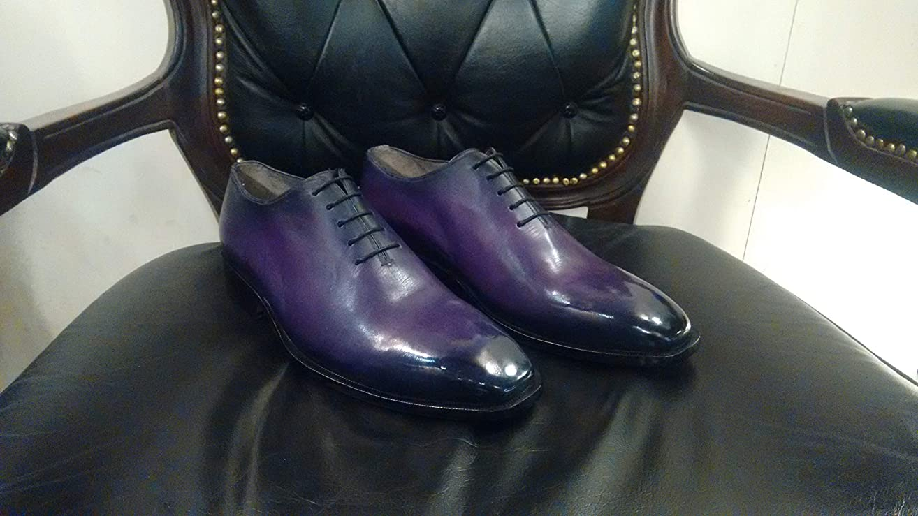 Handmade Purple Whole Cut Patina Oxfords For Men Custom Made Shoes for Men