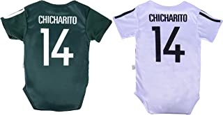 World Cup Baby Chicharito #14 Mexico Soccer Jersey Baby Infant and Toddler Onesie Romper Premium Quality - Home and Away PACK OF 2